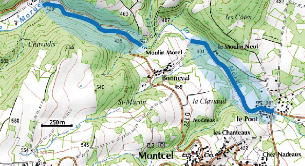 Parcours de pêche - La Morge au Pont de Montcel