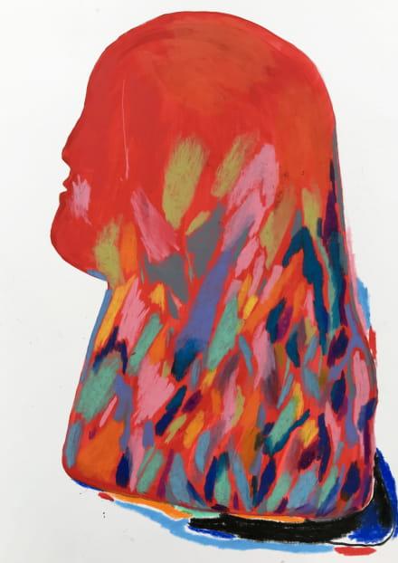 Julie Etesse Deneuvy, Modelage 1, 30x40cm, gouache et craie de cire
