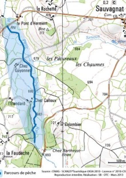 Parcours de pêche - Le Petit Sioulet au Pont d'Herment